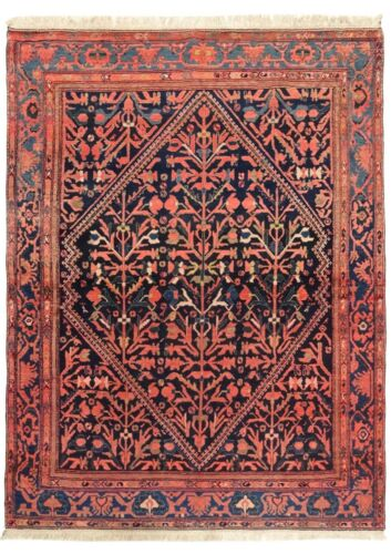 Hand Knotted Malayer Tribal Navy Wool Nomadic Area Oriental Rug 5 x 6