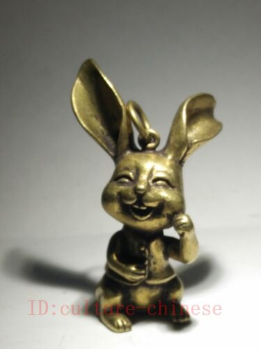 Collection China Old Copper Carving Lovely Rabbit Statue Pendant Decoration Gift