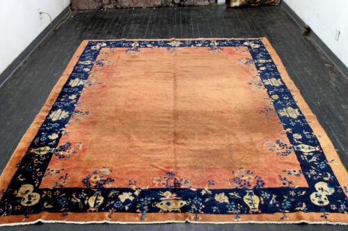 9X8 1890's ANTIQUE HAND KNOTTED VEGETABLE DYE WORN WOOL CHINESE DISTRESSED RUG
