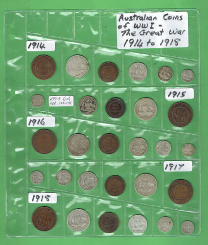 #T13. AUSTRALIAN COINS OF WWI, THE GREAT WAR, 1914 to 1918