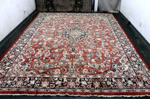 10X14 1930's AWESOME ANTIQUE HAND KNOTTED VEGETABLE DYE WOOL SAROUKK MAHALL RUG