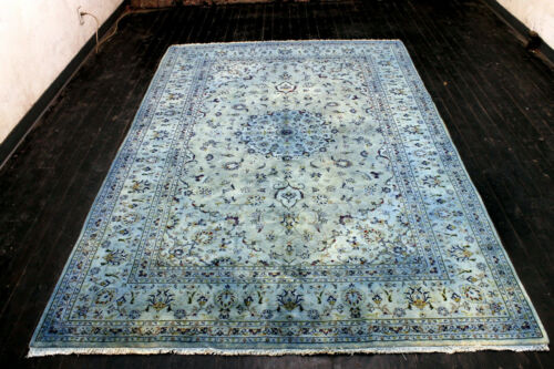 10X7 ANTIQUE OVERDYED BLUE HAND KNOTTED VEGETABLE DYE KASHANN ORIENTAL WOOL RUG