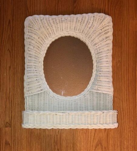FAB TRUE VINTAGE WHITE WICKER RATTAN WALL OR COUNTER SHELF AND MIRROR