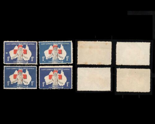 4 x AUSTRALIA LADY GOWRIE RED CROSS APPEAL CINDERELLA STAMPS UNUSED. 2 with GUM