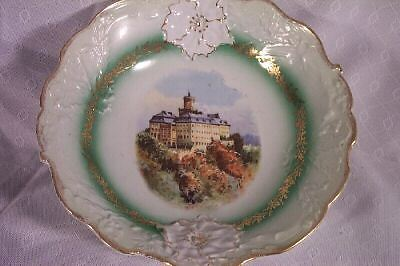 ANTIQUE old Victorian era SERVING BOWL European CASTLE GREEN GOLD LEAVES FLOWERS