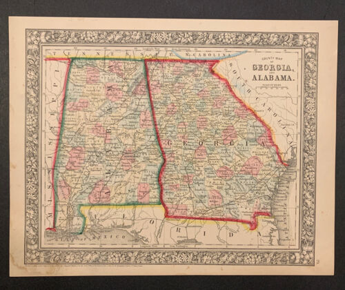 """""""Mitchell's County Map of GA and AL"""" ca. 1860"""