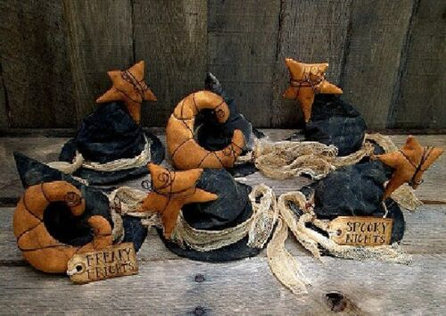 PATTERN Primitive Witch Hat Halloween Ornies w/ Moons & Star Ornies FREE SHIP
