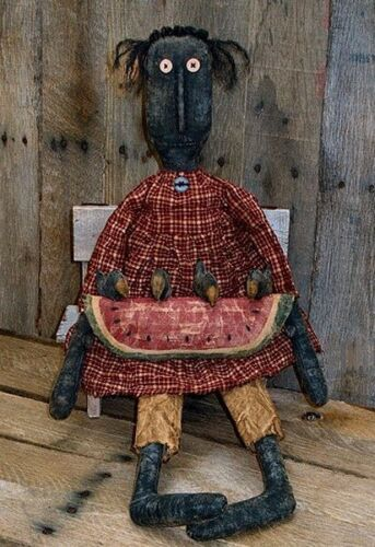 PATTERN Extreme Primitive LARGE Doll w/ Watermelon & Crows Ornie FREE SHIPPING