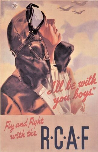 "Vintage ""Fly and Fight with RCAF"" Poster WW 2Canada - 156429"