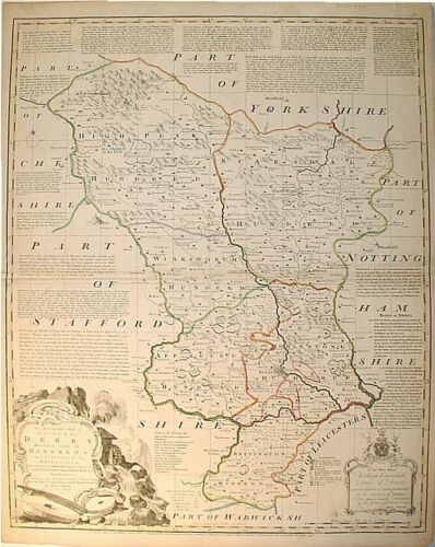c1758 COUNTY MAP OF DERBY * E. BOWEN  * ORIGINAL*
