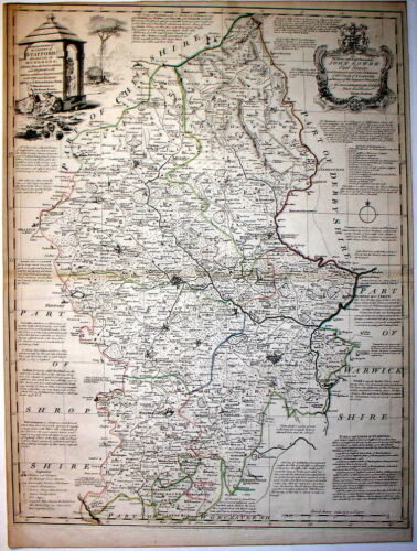 c1755-60 COUNTY MAP OF STAFFORD  * E. BOWEN  * ORIGINAL