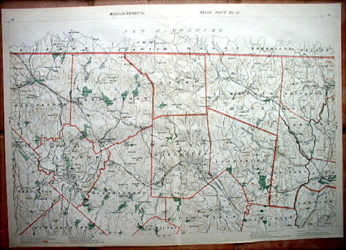 "1891 WORCESTER County, MASS.* 19½ x 28"" FITCHBURG"