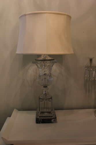 "NEOCLASSIC BACCARAT STYLE HEAVY MOLDED GLASS ""URN"" LAMP 1950's"