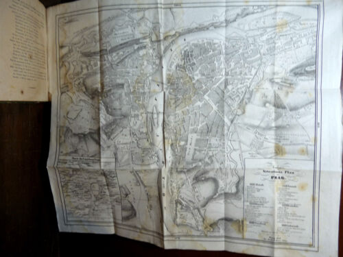 GUIDA DI PRAGA CON MAPPA - GUIDE PRAGUE PRAG 1836 FOLDING MAP CARTE PLAN