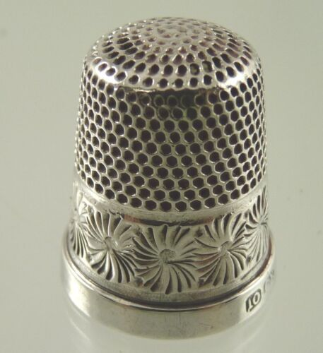 ENGRAVED FLOWER STERLING THIMBLE SIZE 10 BY CH CHESTER 1923