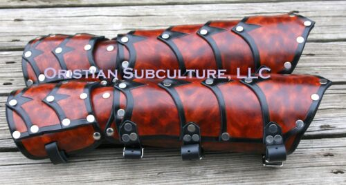 Leather Layered Dragon Riders Gauntlets arm Armor SCA LARP ren fantasy medieval