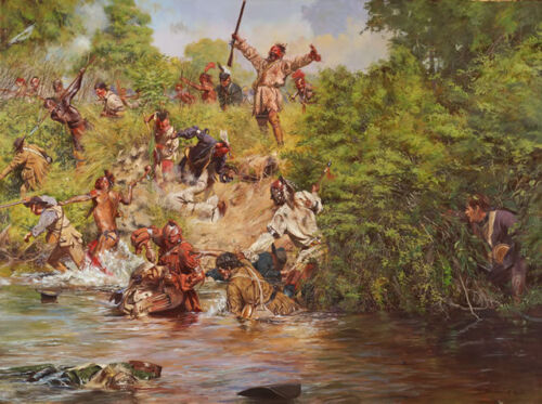 """""""Ensign Downing's Escape, The Battle of Wyoming, July 3, 1778"""" Don Troiani A/P"""