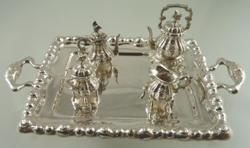 FLORAL BIRD FINIAL MINIATURE SOLID SILVER .835 TEA SET & TRAY 5 PC EASTERN MAKER