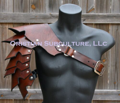 Single Leather Basic Cloven Hoof Spaulder Armor articulated cosplay GladiatorReenactment & Reproductions - 156374