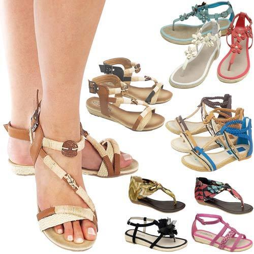 LADIES FLAT SANDALS WOMENS GIRLS FANCY SUMMER PARTY GLADIATOR WEDGE BEACH SHOES