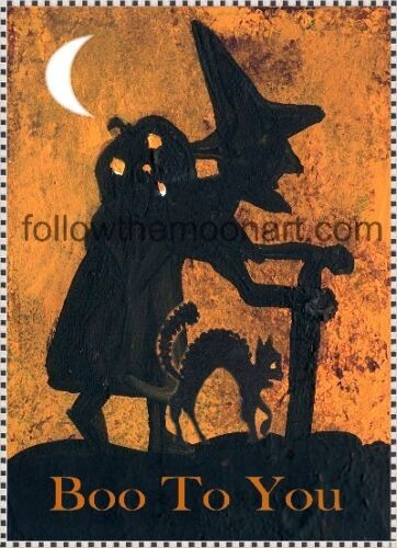 Old Witch Spooky Black Cat Boo to You Halloween Pumpkin Half Moon  8 x 10  Print