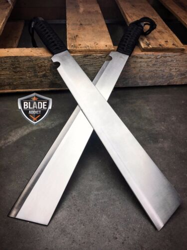 2 PC SURVIVAL HUNTING Bowie Military FULL TANG MACHETE Fixed Blade Knife SWORD