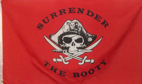 3 x 5 polyester RED SKULL AND CROSS BONES PIRATE FLAG - SURRENDER THE BOOTY