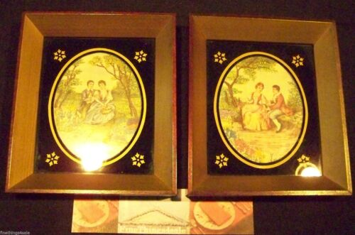 19th CENTURY STYLED FRAME TEXTILE ART - GREAT LOOK - POSSIBLE COLLECTOR ITEM SET
