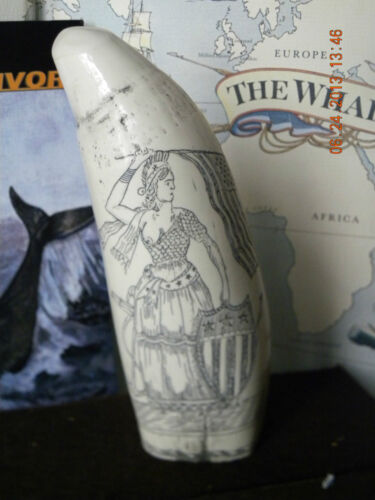 "CHRISTMAS SPECIAL Scrimshaw  whale tooth resin replica "" LADY LIBERTY"" 6&3/4 """
