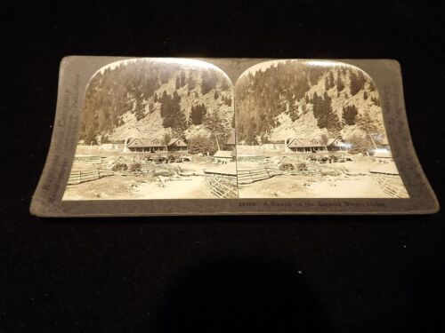 RANCH ON THE SALMON RIVER IDAHO STEREOVIEW CARD ANTIQUE PHOTO IMAGE