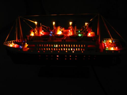 """Titanic wooden model cruise ship with flashing light 16"""" fully assembly"""