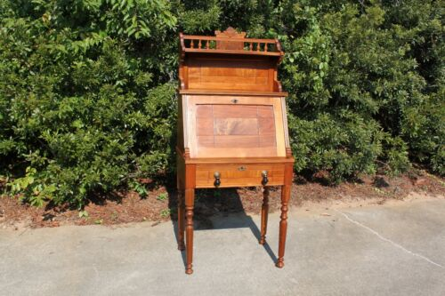 Gorgeous Walnut Victorian Slant Front Desk with Fancy Spool-Turned Gallery Top