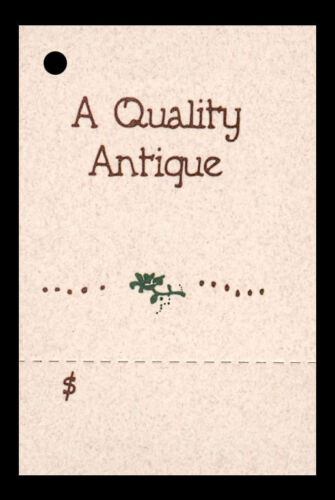 50 HANG TAGS say A QUALITY ANTIQUE Perforated PRICE Kimmeric