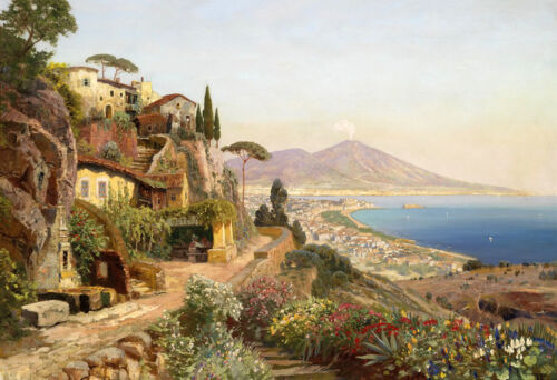 Oil painting Beautiful and fertile landscape of the Mediterranean only canvas