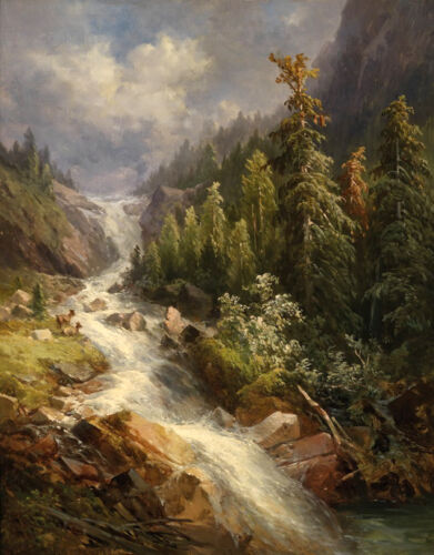 Beautiful art Oil painting creek landscape with mountains hand paint on canvas