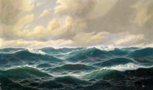 Hand painted Oil painting nice seascape green ocean waves with birds on canvas