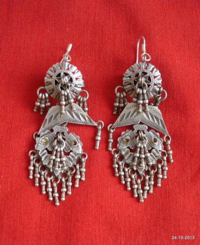 vintage antique tribal old silver earrings tribal belly dance jewelry