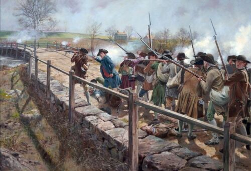 """""""Concord Bridge - The Nineteenth of April, 1775"""" Don Troiani Canvas Giclee"""