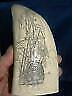"Scrimshaw replica sperm  whale tooth ""PIRATE SHIP"" 7 inches long perfect"