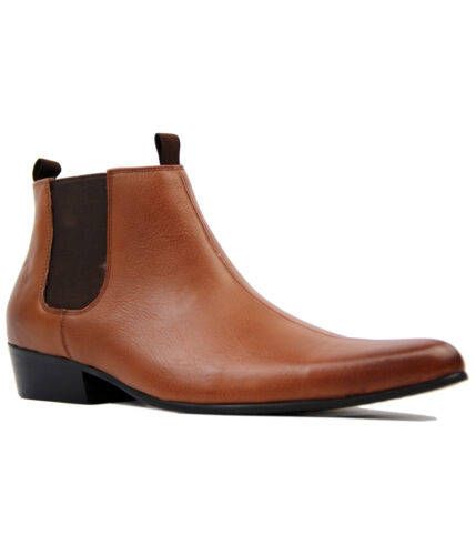 NEW MOD RETRO 60S MENS CLASSIC CHELSEA BOOTS: Sixties TAN LEATHER LIGHTFOOT