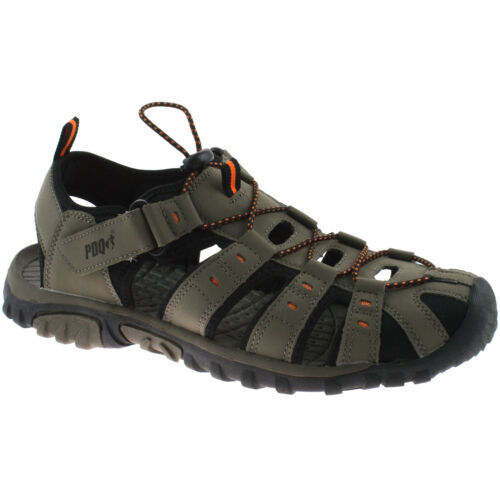 MENS PDQ CLOSED TOE SPORTS SANDALS SIZE UK 3 - 12 WALKING TRAIL TAUPE M040T KD