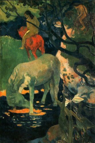 Oil painting Paul Gauguin - The White Horse in landscape