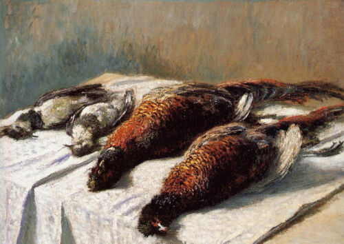 Art Oil painting Claude Monet - Pheasants and Plovers dead birds on table canvas