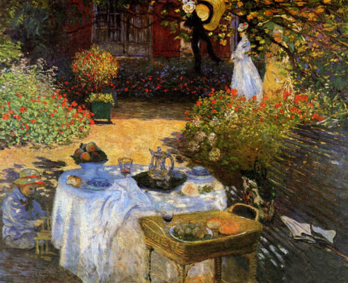 Beautiful Oil painting Claude Monet - The Afternoon Meal Happy family in garden