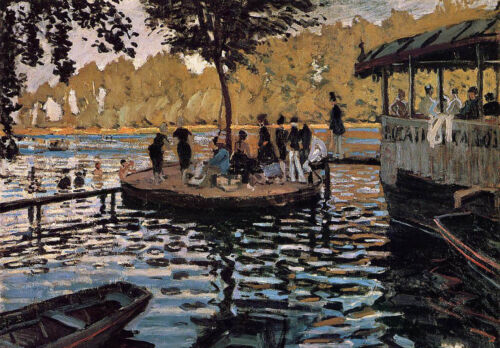 Oil painting Claude Monet - The Grenouillere people party in garden canvas