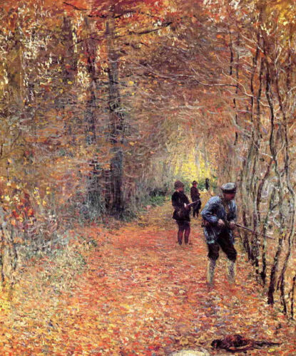 Oil painting Claude Monet - Hunting in winter landscape forest canvas