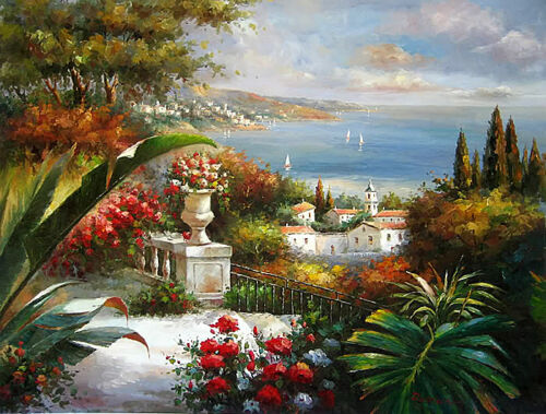 Dream-art Oil painting Beautiful Mediterranean sea landscape with flowers canvas