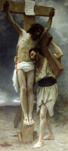 Art Oil painting William-Adolphe Bouguereau - Compassion! Christ Jesus on cross