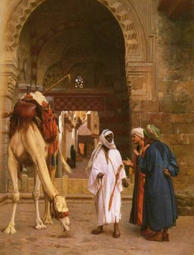 Dream-art Oil painting Arabs portraits with animal camel in the morning market