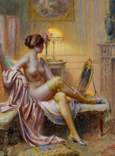 Dream-art Oil painting Self-appreciation before sleeping nice young woman canvas
